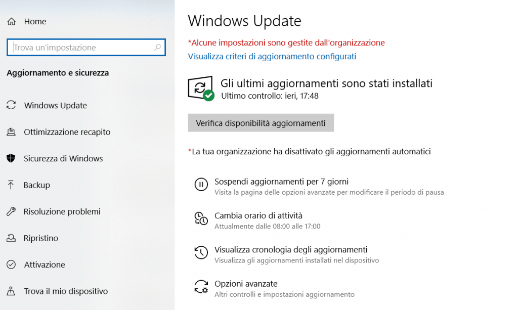 Errore generico in Windows Update