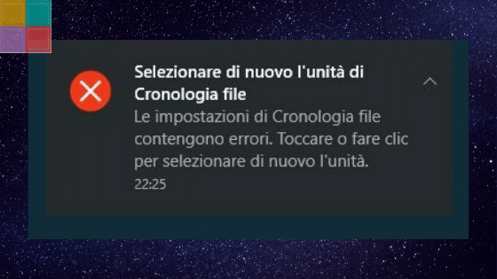 Errore backup cronologia file