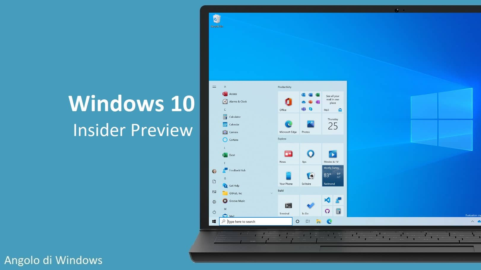Le ultime novità di Windows 10 Insider Preview build 20190